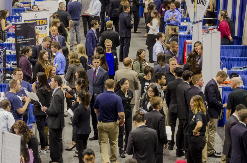 UConn students in Gampel Pavilion for annual fall career fair
