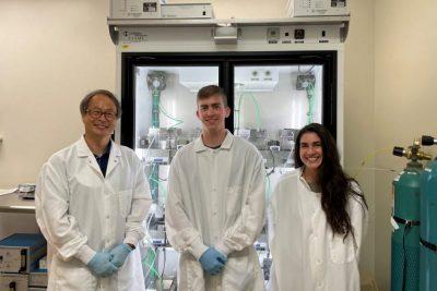 From left, Professor Young-Ki Park, undergraduate student William Odell, graduate student Olivia Corvino.